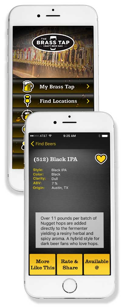 Brass Tap mobile app for iOS and Android